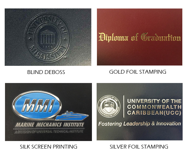 diploma cover blind deboss gold stamping silk screen printing silver foil stamping